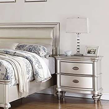 Classic Traditional Formal Silver Majestic Bedroom Furniture Upholstery Faux Leather HB Queen Size Bed Royal Dresser Mirror Nightstand 4pc Set