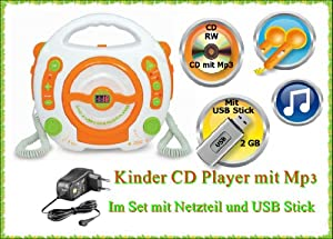 kinder cd player set mit mp3 und usb sing alone mit 2 mikrofone netzteil usb stick 2 gb. Black Bedroom Furniture Sets. Home Design Ideas