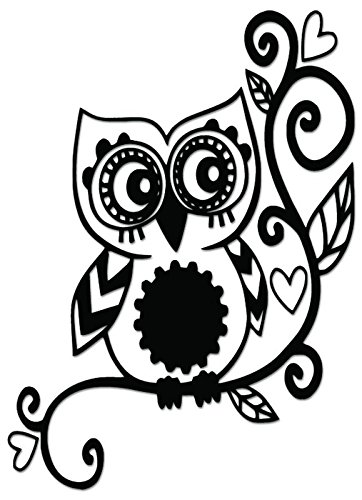Owl Flower Vine Vinyl Decal Sticker For Vehicle Car Truck Window Bumper Wall Decor - [6 inch/15 cm Tall] - Gloss SILVER Color (Owl Auto Decal compare prices)
