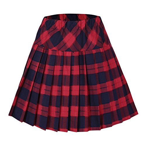 Urban CoCo Women's Elastic Waist Tartan Pleated School Skirt (X-Large, series 5 red) (Mini Skirt Dress compare prices)