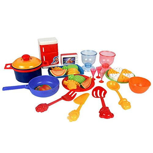 Easydeal 31Pcs Colorful Toddlers Baby Play Food Dishes Set: Toy Kitchen Accessories: Plastic Pots, Pans, Plates/Dishes, Refrigerator, Oven, Cookware, Wine Cup, Pizza, Healthy Fruits/Vegetables (Toy Dishes And Food compare prices)