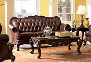 Coaster Victorian Leather Sofa Set