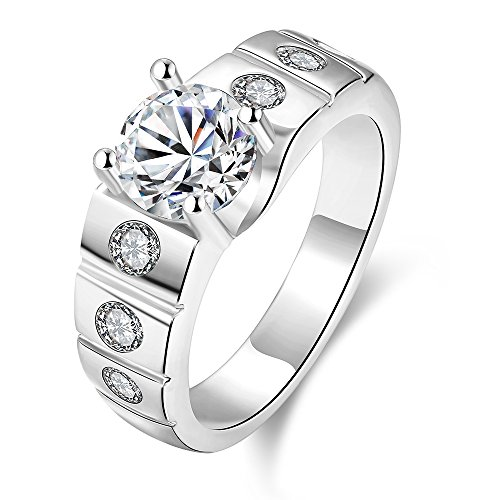 [Womens and Mens Fashion Ring Engagement Ring White Platinum Plated Inlay Cubic Zirconia -] (Elizabeth Bass Costume Designer)