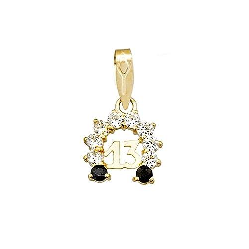 18k gold pendant amulet zircons sapphire horseshoe 13 [AA4843]