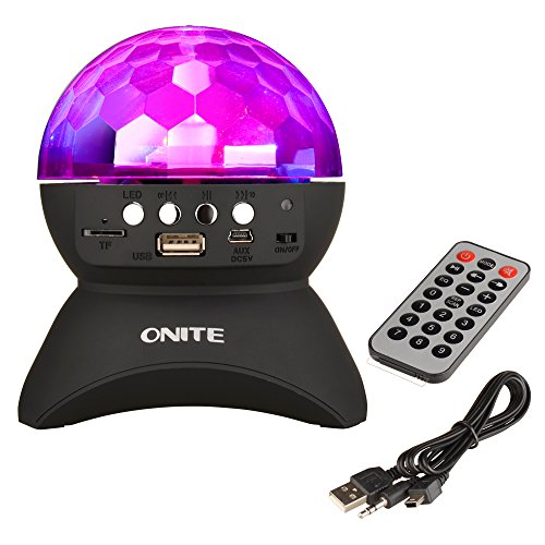 Onite Disco DJ Stage Lighting LED RGB Crystal Rotating Special Effects Lighting, Aux Input TF Card Music Player and Wireless Bluetooth Speaker (Black)