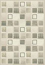 Area Rug, Multi-Colored/Cream Geometric Boxes Stain Resistant Carpet, 6\' 7\