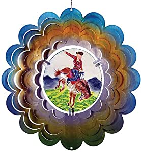 Great World 12 Inch Cowboy Zephyr Spiral Wind Spinner With Poly Resin Insert