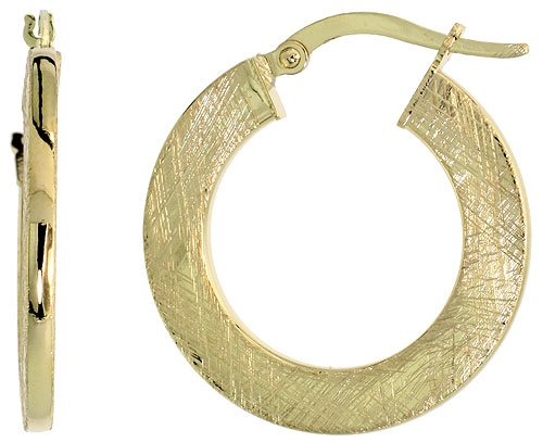 9ct Gold Snap-Post Italian Hoop Earrings, Crystallized Brush Finish 1