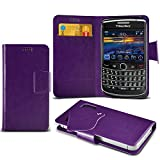 (Purple) Blackberry Bold 9700 Super Thin Faux Leather Suction Pad Wallet Case Cover Skin With Credit/Debit Card Slots By Spyrox