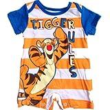 "Disney Baby ""Tigger Rules"" Striped Romper Orange/blue (6/9m)"