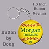 Softball ButtonKey Ring Bag Tag personalized with name, number, team 1.5 inch charms