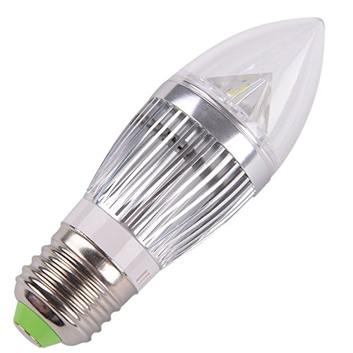 10 Pcs E27 12W Silver (4 Smd) Flame High Power Led Chandelier Candle Light Bulb Non-Dimmable, Warm White
