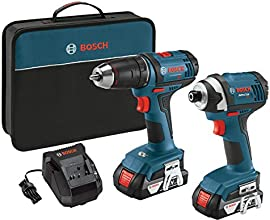 Bosch CLPK26-181 18-Volt 2-Tool Combo Kit with 1/2-Inch Drill/Driver, 1/4-Inch Impact Driver, 2 Batteries, Charger and Contractor Bag