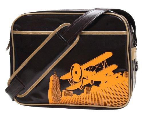 Imagen de Cevan Metro biplano vintage de primera calidad revestido lienzo bolsa de pañales, brillo Brown