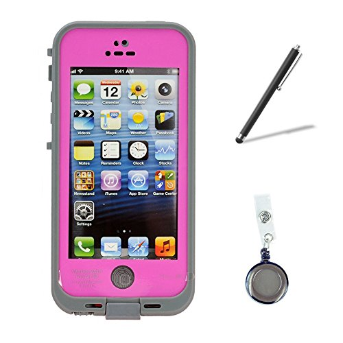 Newest Waterproof Shockproof Fingerprint Scanner Full Case Cover Bundle With Retractable Reels And Touch Pen For Apple Iphone 5 5S (Pink)