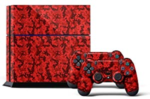 PS4 Designer Skin for Sony PlayStation 4 Console System plus Two(2) Decals for: PS4 Dualshock Controller - Digicamo Red