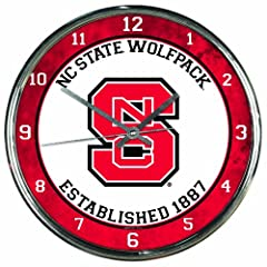 Buy NCAA North Carolina State Wolfpack Chrome Clock by WinCraft