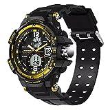 Sanda Mens Sports Watch Waterproof Analog Digital Dual Time Light Wristwatch - Black/Gold