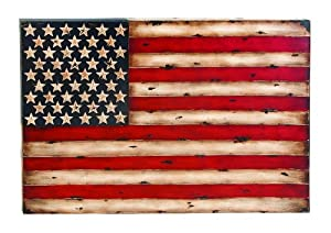 Metal Wall Decor With American Flag Replica by Benzara
