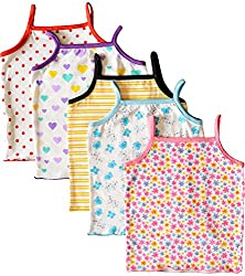 MYFAA Baby Girls' Cotton Regular Fit Vest - Combo of 5 (Multi-Coloured, 18-24 Months)