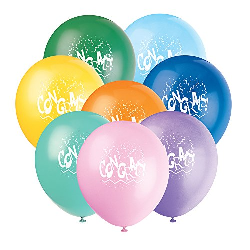 """12"""" Latex Congrats Graduation Balloons, 6ct"""