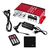 Kinter MA-120 2-Channel Output Digital Power Mini Amplifier AMP with Remote Control + Infrared Extension Cable + 5A Power Supply + Tera Cloth for FM USB SD CD DVD MP3 Players