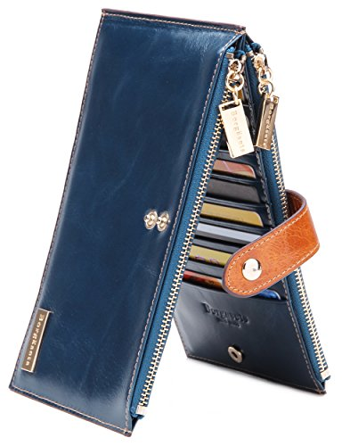 Borgasets Women's Genuine Leather Zipper Wallet Blue
