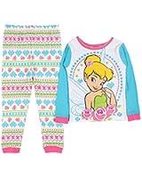 Disney Little Girls' Tinkerbell Roses 2 Piece Long Sleeve Pajamas