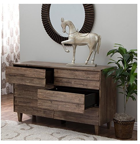 Contemporary Modern Rustic Solid Wood Brown 6-drawer Dresser