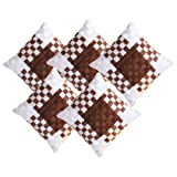 Zikrak Exim Basket Woven Cushion Cover Brown & Ivory 5 Pcs Set 40 X 40 Cm