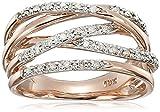 10k Rose Gold Woven Diamond Ring (1/7 cttw, I-J Color, I2-I3 Clarity)