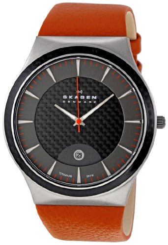 Skagen 234XXLTLO Mens Titanium Grey Orange Watch