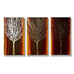 Neron Art - Handpainted Abstract Oil Painting on Gallery Wrapped Canvas Group of 3 pieces - Cherwell 24X16 inch (61X41 cm)