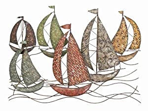 "Sailors Art 6 Sailboats Metal Wall Art Sculpture 33""w, 24""h [Kitchen]"