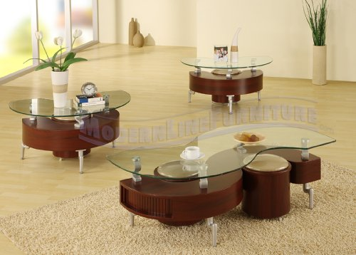 Modern Furniture Mahogany Coffee Table and Two End Tables Featuring Four Ottomans