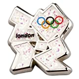 Official London 2012 Olympic Logo Mini Pin Badge - White Glittering