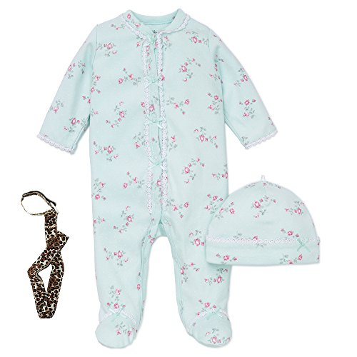 Little Me Girl Footie Footed Sleeper Sleep N Play Hat and Tether Mint Green 3M