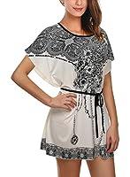 DJT Femme Elegant Tee-Shirt avec Dessin Fleur Top-Shirt imprime Manches Chauve-Souris