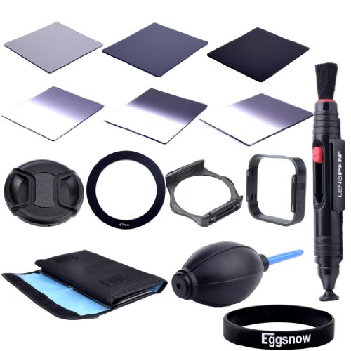 Eggsnow Dslr Camera Accessory Kit - Graduated Nd2 Nd4 Nd8 + Full Nd2 Nd4 Nd8 + 6 Pockect Fliter Bag + 67Mm Center Pinch Lens Cap + Air Blower Cleaner Blaster + 67Mm Adapter Ring + Lens Hood + Filter Holder + Lens Clearing Pen (67Mm)