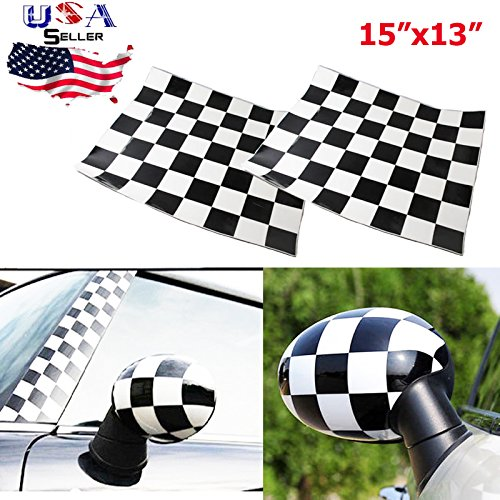 Xotic Tech Checker Checkerboard Racing Flag Vinyl Stickers For Mini Cooper Side Mirrors Cover (Left & Right) (Mini Cooper Passenger Side Mirror compare prices)