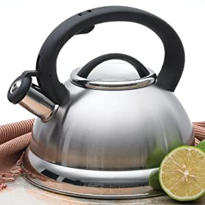 Alpine Stainless Steel Finish Encapsulated Base 18 10 Whistling Tea Kettle Pot by Alpine Cuisine