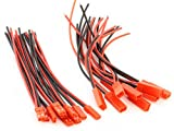 Generic JST Plug Connector 2-pin + 100mm Silicone Wire(pack of 10 Pairs)