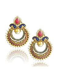 Adiva Multi-Colour Classic Peacock Meenakari With Rich Stone And Pearl Work Copper Dangle & Drop Earrings For...
