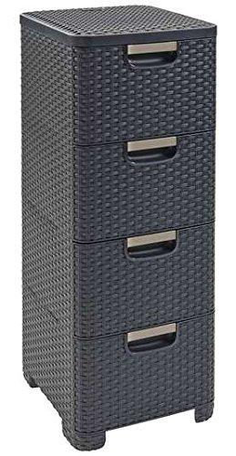 98036 Regal mit 4 Schubladen Natural Style, grau