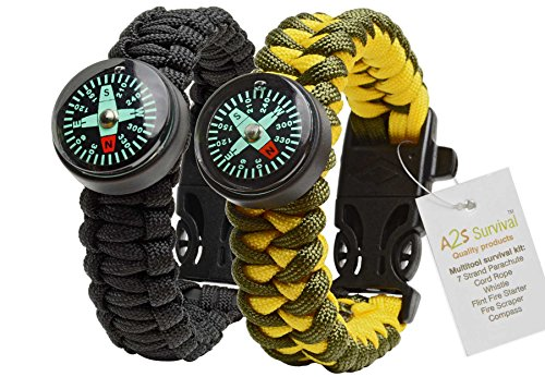 #1 Best Value Paracord Bracelet Pack of 2 A2S Survival Gear Kit Colorful Everest Series with built-in New Type Compass,