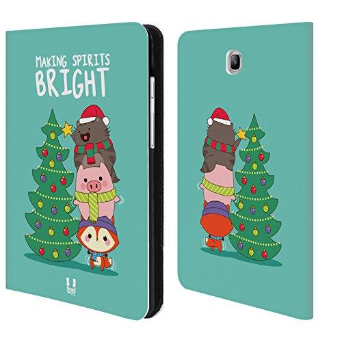 Head Case Designs Making Spirits Bright Wilbur Il Gatto Natale All Star Cover a portafoglio in pelle per Samsung Galaxy Tab A 8.0
