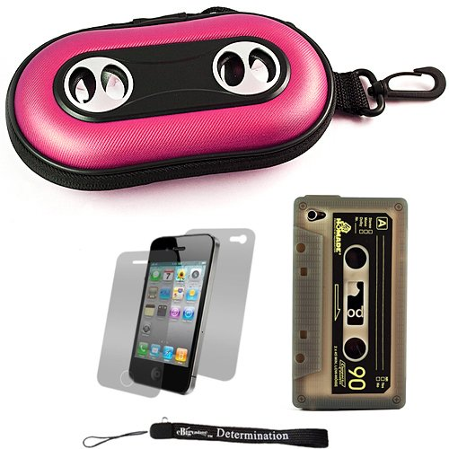 Pink Portable Hard Cover Shell With Integrated Speakers & Silicone Cassette Skin For Apple Iphone 4 ( 4Th Generation 16Gb 32Gb - At&T And Verizon ) + Includes Anti Glare Screen Protector Guard