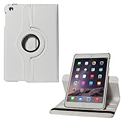 Micomy Premium 360 Degrees Rotating Smart Cover Stand Case for Apple iPad Mini 2 (White)