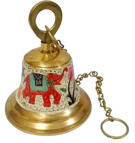 Starstell Decorative Brass Pooja Hanging Bell with Chain for Temple - 3.5 Inch