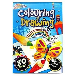 Coloration et le dessin de bloc-notes de format A4 enfants - 80 feuilles - 40 blancs et 40 illustré - Taille - 297mm x 210mm